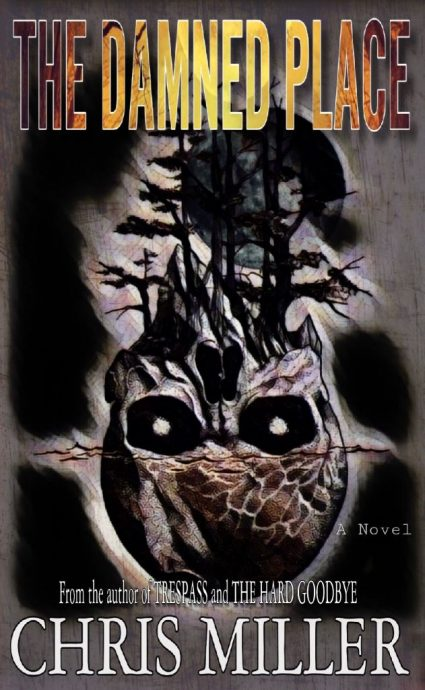 Front cover horror book The Damned Place skull with trees